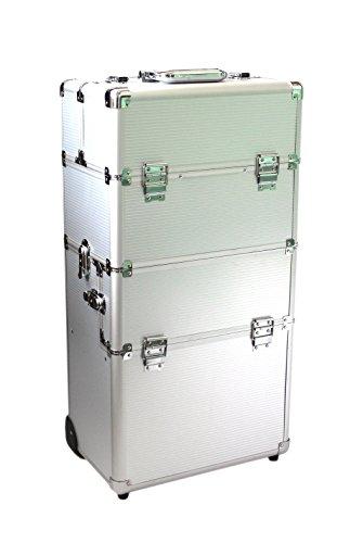 KScase Aluminium Kosmetikkoffer Beautycase Trolley Schminkkoffer (Silber)