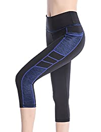 SEYO Yoga Pantalones Mujer Pantalones Deportivos Cintura Alta Leggins Deportivos con Bolsillo (Negro/Azul, Medium)