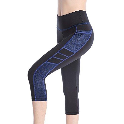 SEYO Damen Yoga Hosen Leggins Hohe Taille Sporthosen mit Taschen (Large, Schwarz/Blau)