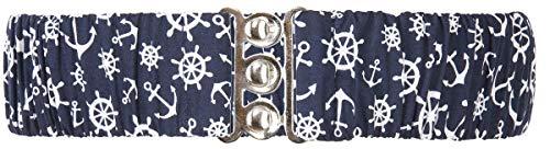 Küstenluder Damen Stretchgürtel Anker Steuerräder Belt Blau 2XL/3XL