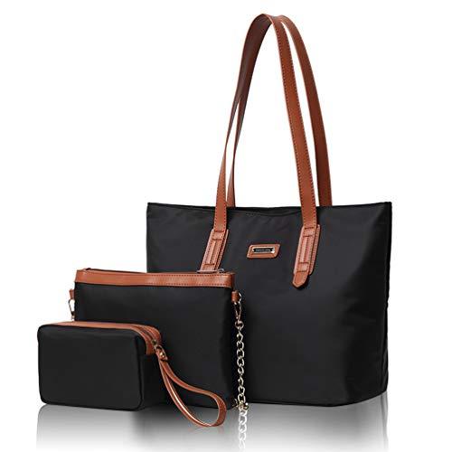 Maysurban Handtasche Set Damen Groß Geldbörse aus Oxford Schultertasche Tragetasche Freizeit Einkaufstasche 3-teilige Shopper Schwarz