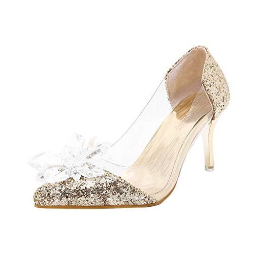 Damen Pailletten Stiletto Schuhe, LeeMon Glitzer High Heels Pumps mit Plateau und Stiletto Elegant Braut Hochzeit Schuhe -