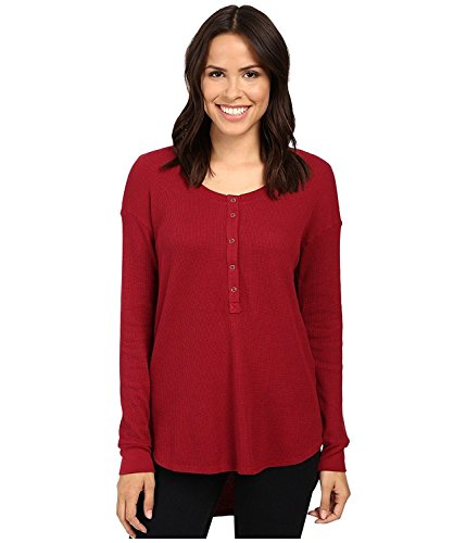 Thermal Henley Tee (Splendid Women's Thermal Henley Cranberry T-Shirt XS (Women's 0-2))