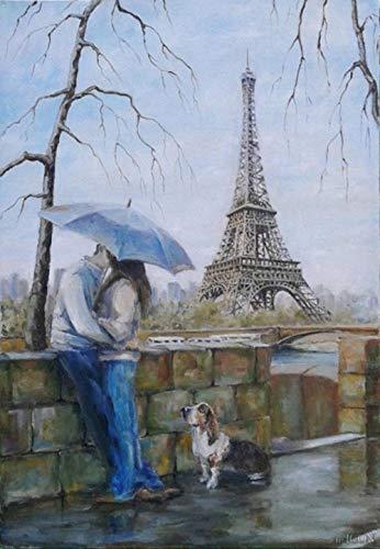 OILPHL Malen Nach Zahlen Kits DIY Romantischer Eiffelturm, Der Liebhaber-Hund Küsst Für Erwachsene Kinder Anfänger No Frame - Mensch Hunde Anzug Kostüm