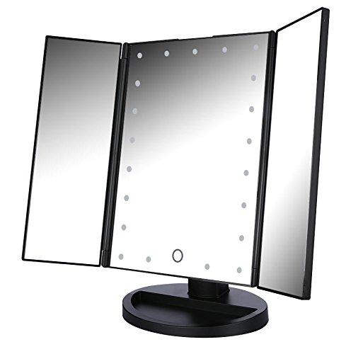 Espejo Maquillaje con Luz,Easehold Triple Espejo Plegable 21 Lámpara LED 180 Grado de Rotación Coméstico con Mostrador, Regalos Originales para Mujer (Negro)
