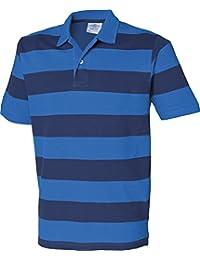 Front Row Herren Gestreift Pique Polo Shirt kurz Cuffed Sleeve Tee 2Button oben
