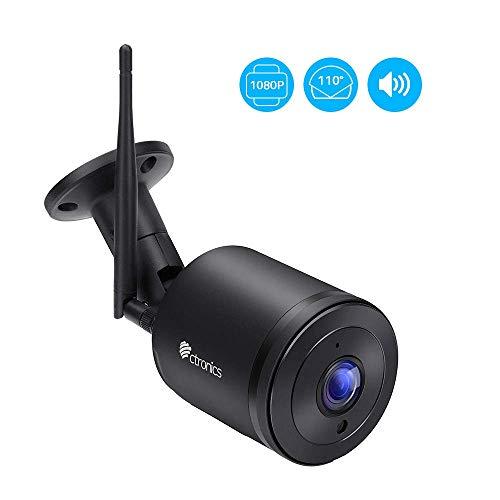 Überwachungskamera Aussen WLAN, Ctronics IP Kamera outdoor WiFi HD 1080P mit 110 ° Weitwinkel, Zwei-Wege-Audio, 30m IR-Nachtsicht, Bewegungserkennung, IP66 Wasserdicht, Fernzugriff(schwarz)