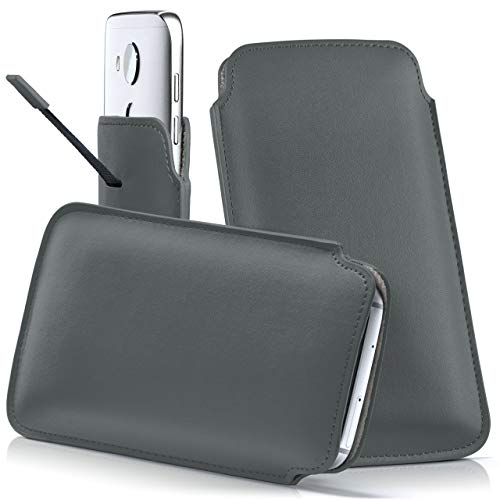 moex Huawei P20 Lite   Hülle Grau Sleeve Slide Cover Ultra-Slim Schutzhülle Dünn Handyhülle für Huawei P20 Lite Case Full Body Handytasche Kunst-Leder Tasche