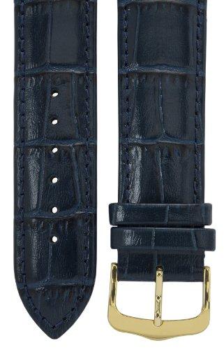 Uhrenarmband 20 mm Leder blau, Kroko-Optik, Länge 75x115mm, Aluminium IP gold-Dornschließe