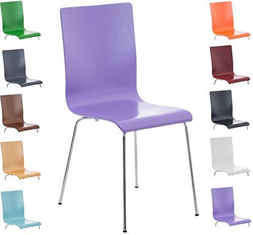 CLP Wartezimmer-Stuhl PEPE, Holzsitz, ergonomisch geformt, robust, pflegeleicht lila