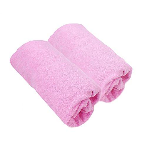 TupTam Babybett Spannbettlaken Frottee 2er Pack, Farbe: Hellrosa, Größe: 70 x 140 cm