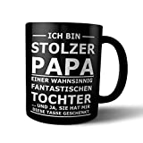 FUN Tasse STOLZER PAPA - Black and White Matt - mit Laser graviert