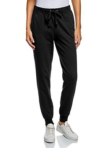 oodji Ultra Mujer Pantalones de Punto con Cordones, Negro, ES 38 / S
