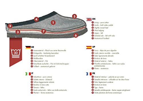 Orthopant Pantoufles en Feutre Baita - Respirant, Antidérapant, Talon Ouvert, Unisexe - Chaussons en Feutre Fine Pour UNE Chaleur Agréable et Bien-Être - Qualité Fait Main du Tyrol du Sud Gris avec noir bordure