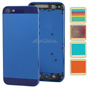 White Luminescent Logo Full Housing Alloy Replacement Back Cover with Mute Button + Power Button + Volume Button + Nano SIM Card Tray + 10 Colors Sticker for iPhone 5 (High Quality Version), Dark Blue(Dark Blue)