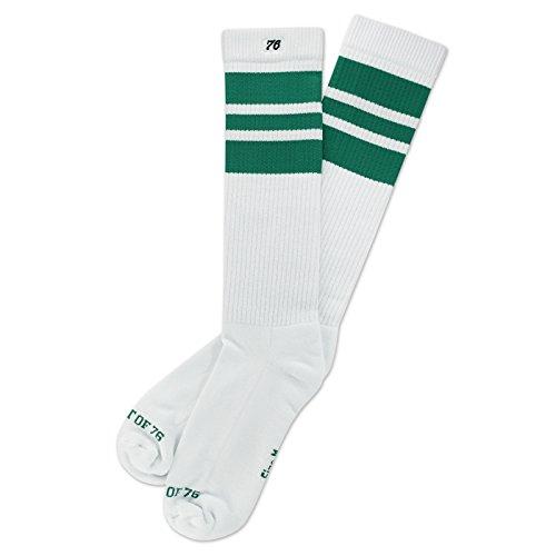The green Greens | Retro Socken von Spirit of 76 | Weiß, Grün gestreift | kniehoch | Unisex Strümpfe Size M (39-42) (Rock Socken Sport)