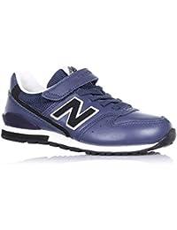 NEW BALANCE - Zapatilla deportiva azul marino, en cuero, con velcro, cordones elásticos, logo lateral y posterior, Niño, Niños