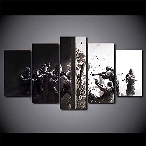 alicefen 5 Piezas Canvas Art HD Print Rainbow Six Siege Game Prints Cuadros  para Sala de Estar Impresión de Pared Imágenes Enmarcadas-Frame