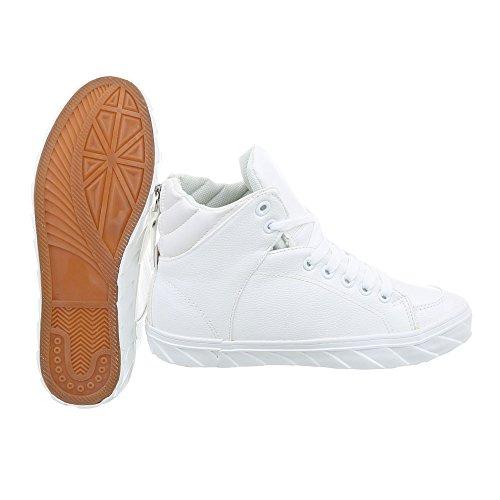Ital-Design Scarpe da Donna Sneaker Piatto Sneakers High bianco W-3F