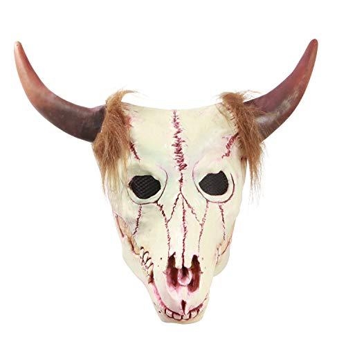 YaPin Neuheit Halloween Bull Kopf Skelett Maske Zombie Maske Simulation Resident Evil Skeleton Spukhaus Requisiten (Skelett Halloween Makeup-tipps)