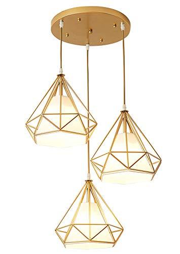 Diamant Deckenlampe,Retro Esstischlampe Pendelleuchte Schmiedeeisen Lampenschirm 25cm 3 Flammig 7W E27 G45 Höhenverstellbar 100cm Warmweiß (umfassen Lichtquelle),Gold Rondell