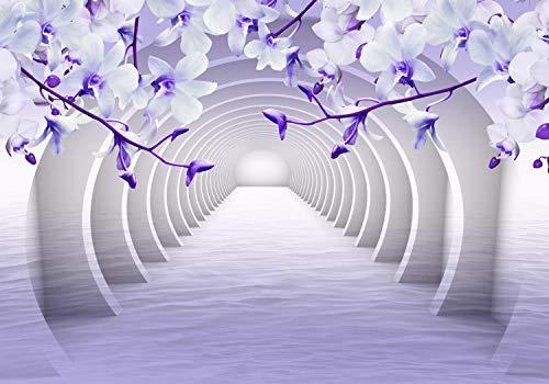 wandmotiv24 Fototapete Tunnel Lila Blumen XL 350 x 245 cm - 7 Teile Fototapeten, Wandbild, Motivtapeten, Vlies-Tapeten Wasser, 3D M3937