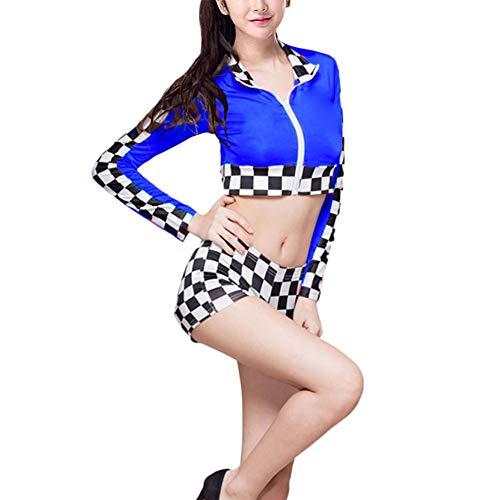 Set Kostüme - Erwachsene Kleidung Shorts Set Tanzröcke Cheerleader Sexy Langarm Racer Outfit Halloween Cosplay Karierten Party Uniformen ()