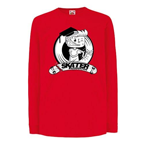Kinder-T-Shirt mit Langen Ärmeln Professionelle Skate-Akademie Graduierung - Für Skater - Skateboard - Longboard, Geschenke für den Skater (9-11 Years Rot Mehrfarben)