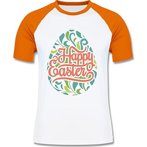 Ostern - Osterei Typografie floral - zweifarbiges Baseballshirt für Männer Weiß/Orange