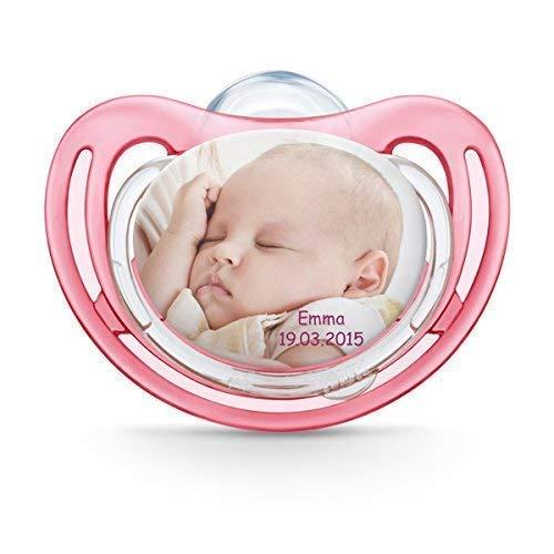 Succhietto NUK personalizzabile con fotografia, in silicone, privo di BPA, (da 18-36 mesi, rosa), myNUK1017P