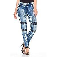 Cipo&Baxx WD368 Dikişli Taş İşlemeli Yıkamalı Bayan Kot Pantolon