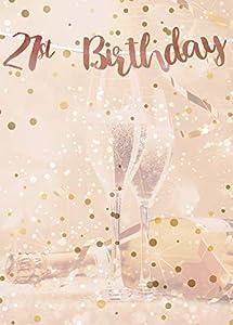 Alandra Cumpleaños BUNT-21 21st cumpleaños Oro Rosa metálico Bunting, Crema y Rosa, Talla única