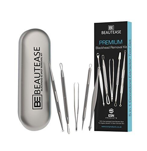 BeautEase® PREMIUM 5-in-1 Mitesserentferner-Kit. Gegen Mitesser, Flecken, Akne, Pickeln, Komedonen, Hautunreinheiten, eingewachsenen Haaren, verstopften Poren & mehr. 100% rostfreier Edelstahl.