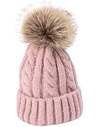 Amazon.es  gorros de lana con pompon de pelo - Gorros de punto ... 04178d8bb833