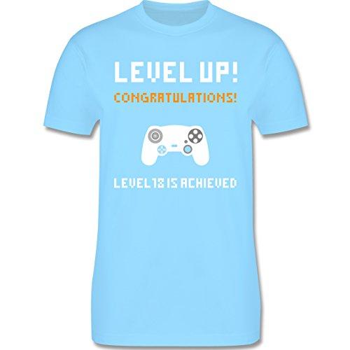 Shirtracer Geburtstag - 18. Geburtstag - Gamer Level 18 - Herren T-Shirt Rundhals Hellblau