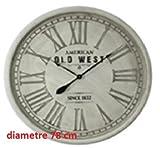 Grande horloge pendule murale en bois style vintage - Diamètre 78 cm - Coloris BLANC patiné