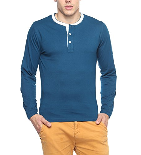 Hot Pepper Mens Cotton T-Shirt (Doublerib-Indigo-M _Indigo _Medium)