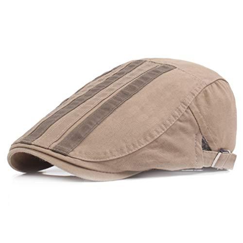RICHTOER Stripe Hat Newsboy Cap Men Women Flat Caps Summer Cotton Beret Outdoors (Khaki) (Dress Up Girl Black)