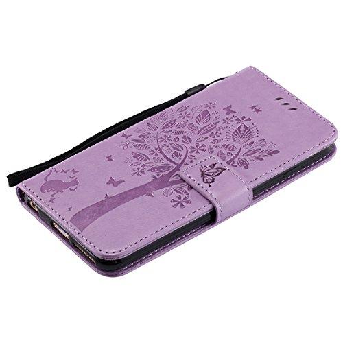 iPhone 6s Étui en cuir, iPhone 6 Étui portefeuille, Lifetrut [Minou] Conception en Relief Flip Folio Cuir Housse de portefeuille pour iPhone 6s 6 [Or Rose] E202-Violet clair