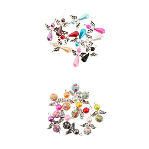 MagiDeal 20er Set gemischte Engel Flügel Charme Anhänger Acryl Perlen Beads Kugeln Bastelset für Hochzeit Taufe Konfirmation Geburtstag (Flügel Hochzeit Fee)