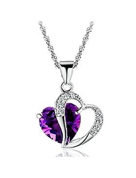 CuteEdison SheClub Halskette mit Herz-Anhänger versilbert Kristall Amethystviolett