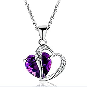 SheClub Silver Plated Crystal Diamante Purple Amethyst Heart Shape Pendant Necklace with Chain