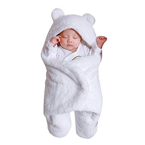 Kobay Neugeborenen Baby Mädchen Jungen Nette Baumwolle Solide Weichem Plüsch Schlafdecke Wrap Swaddle(3-6M,Weiß)