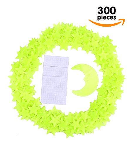 Paquete de 300 Estrellas Brillantes Y Luna| Estrellas para Decorar Techos Fluorescentes para Niños | Estrellas Fluorescentes Para Niños |Paquete Brillante de Luna Y Estrellas para Habitaciones Y Guarderías de Boxiki Kids