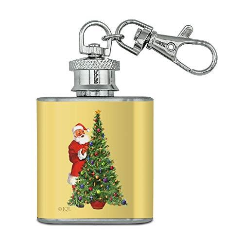 Vacances de Noël Père Noël Décorer Arbre en acier inoxydable 28,3 gram Mini Bouteille Porte-clés