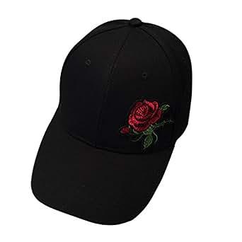 Cappellini con Visiera da baseball Hip-Hop, DoraMe Cappello del cotone Berretto da baseball delle ragazze dei Snapback di Hip Hop cappello ROSE (Nero)