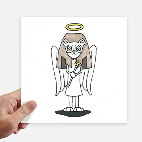 DIYthinker Engel Bastet Flügel Halo Stern-Quadrat-Aufkleber 20Cm Wand Koffer Laptop Motobike Aufkleber 4Pcs 20cm x 20cm Mehrfarbig