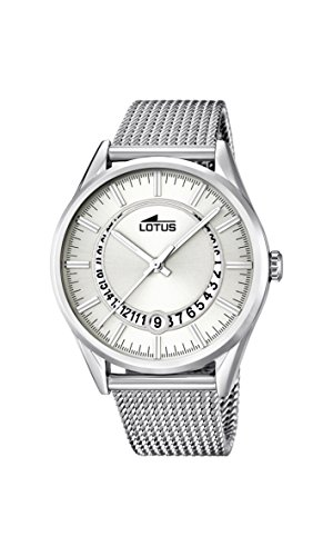 Lotus Men's Quartz Watch with White Dial Analogue Display and Silver Stainless Steel Bracelet 15975/1