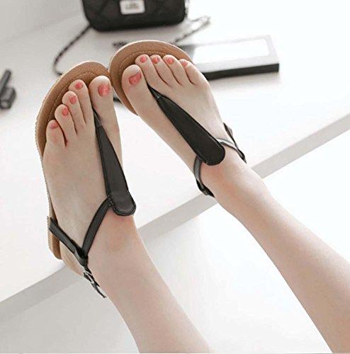 NobS Sandali della ragazza Large Size 40-43 Open Toe donne sandali piatti Black