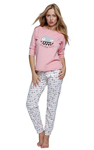 Sensis sensationeller Baumwoll-Pyjama Schlafanzug Hausanzug aus zartem Oberteil und Langer Hose, Made in EU (L (40), rosa/weiß)